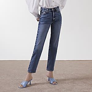 Blauwe Blair jeans met rechte pijpen en hoge taille