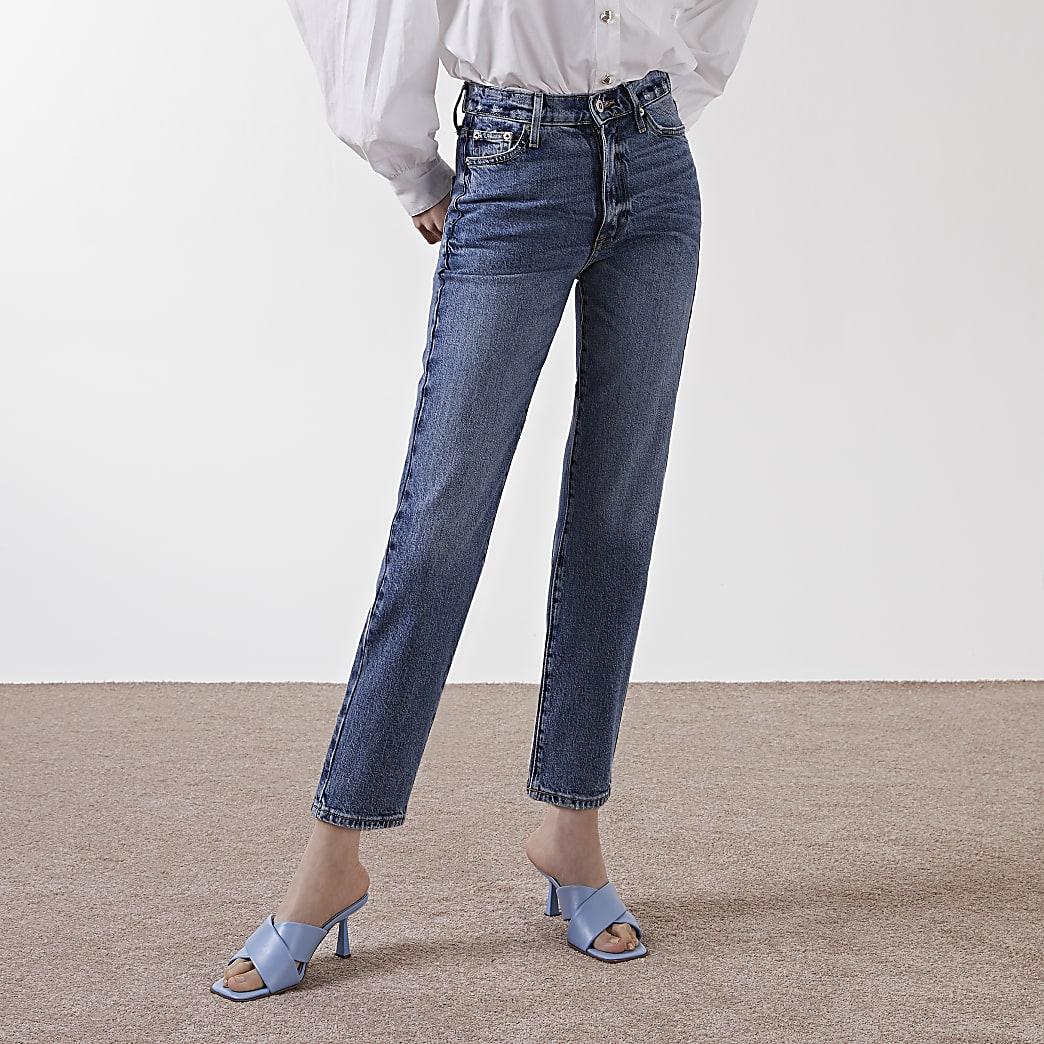 """Blaue Straight Jeans """"Blair"""" mit hohem Bund"""