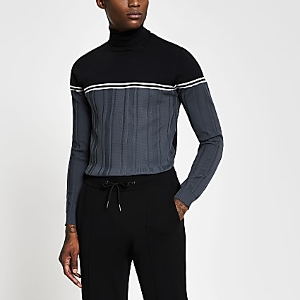 Blue blocked muscle fit roll neck jumper
