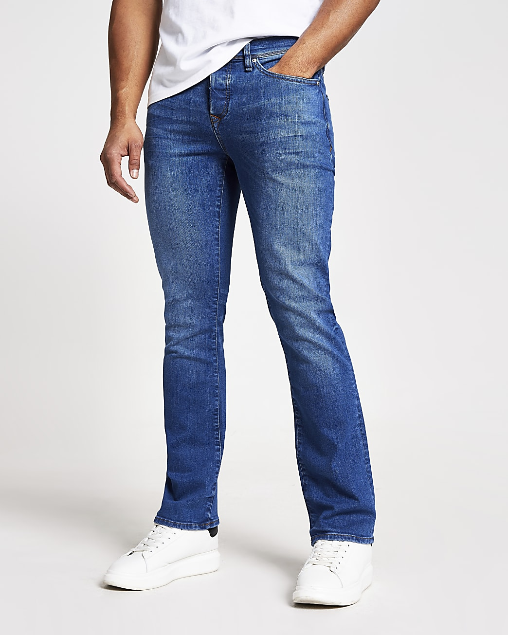 Blue bootcut fit jeans