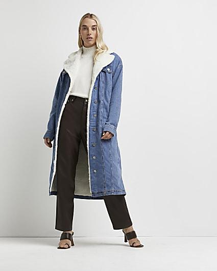 Blue borg and denim longline coat