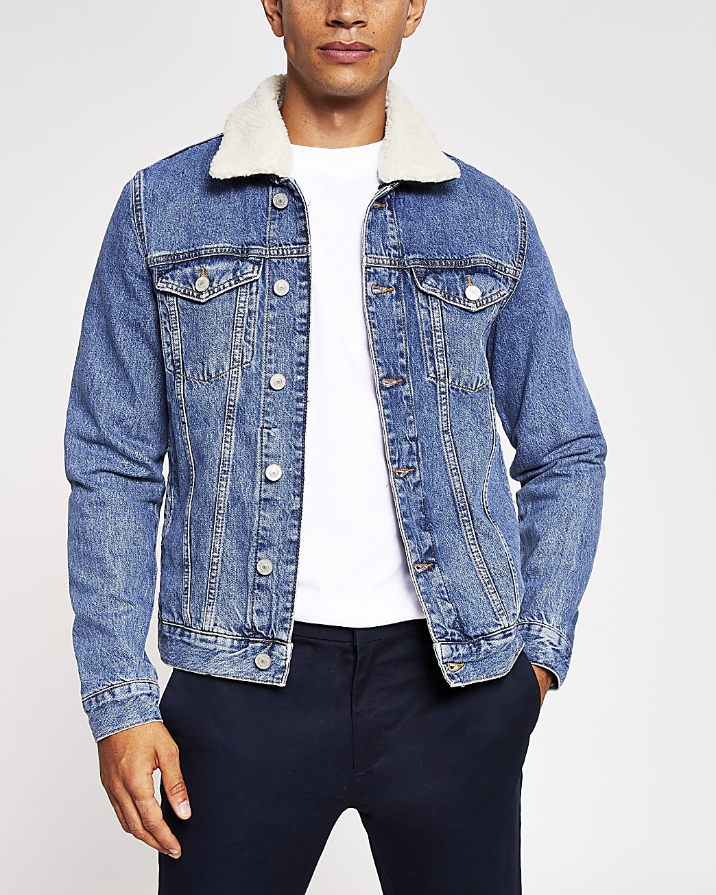 Blue borg collar denim jacket