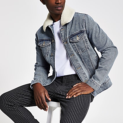 Blue borg collar trim denim jacket