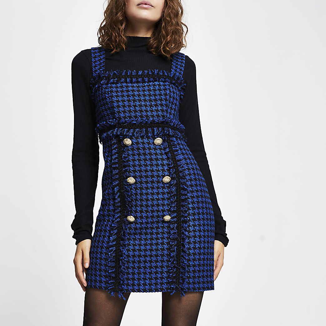 Blue boucle dogtooth mini dress