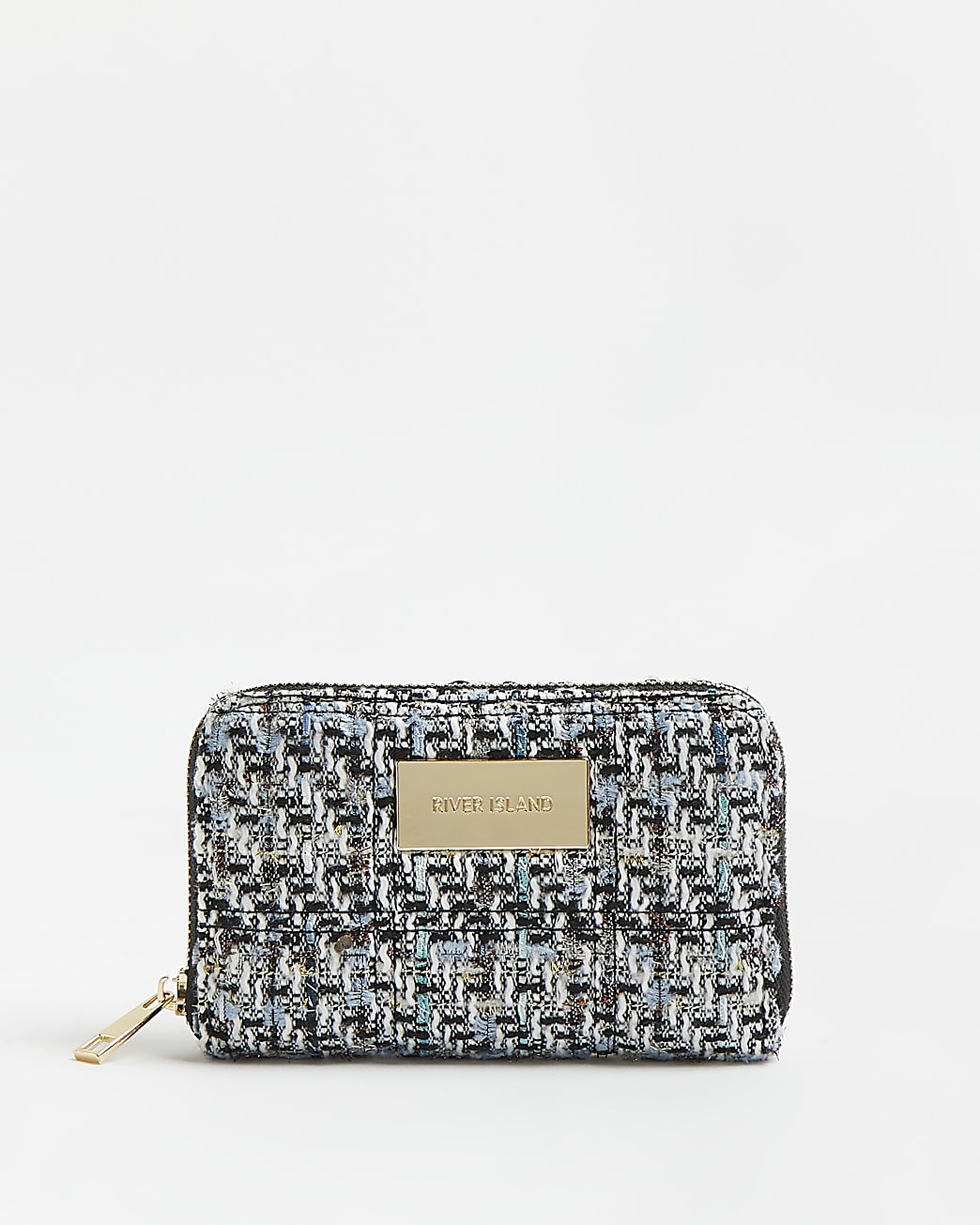 Blue boucle quilted purse