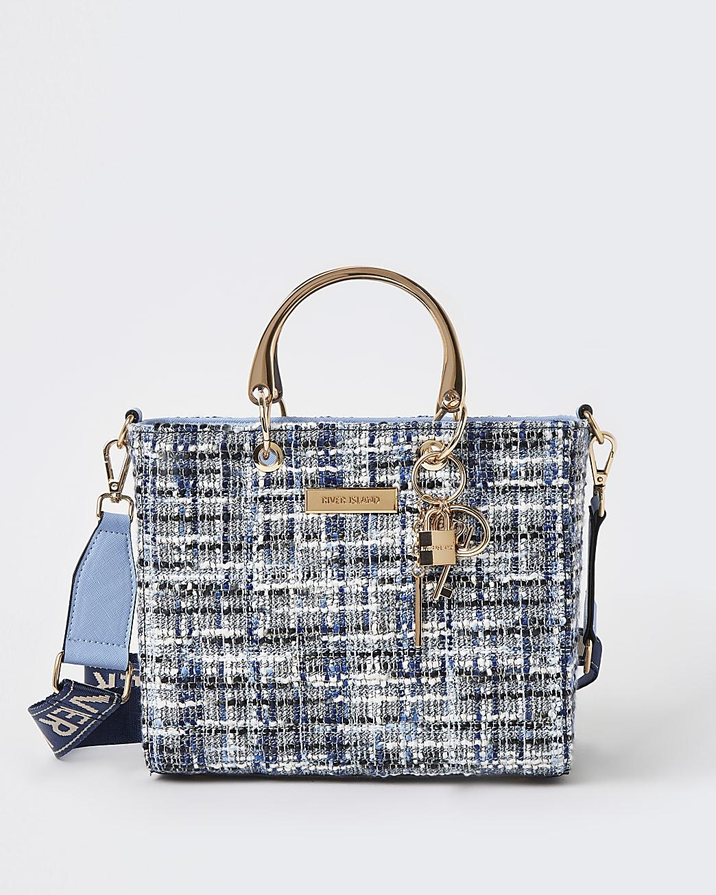 Blue boucle tote bag