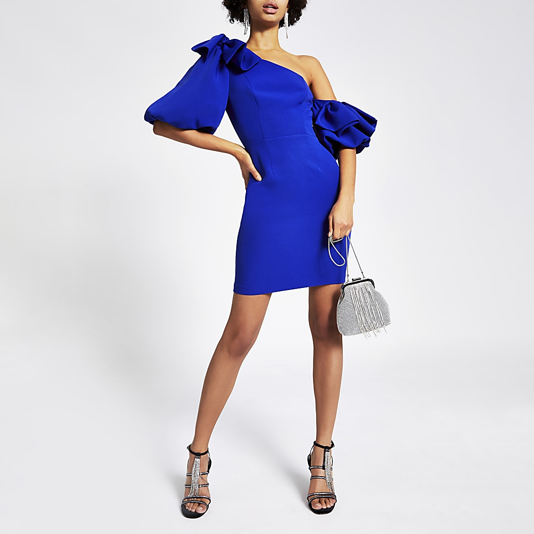 Blue bow puff sleeve bodycon mini dress