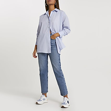 Blue bow tie back long sleeve shirt