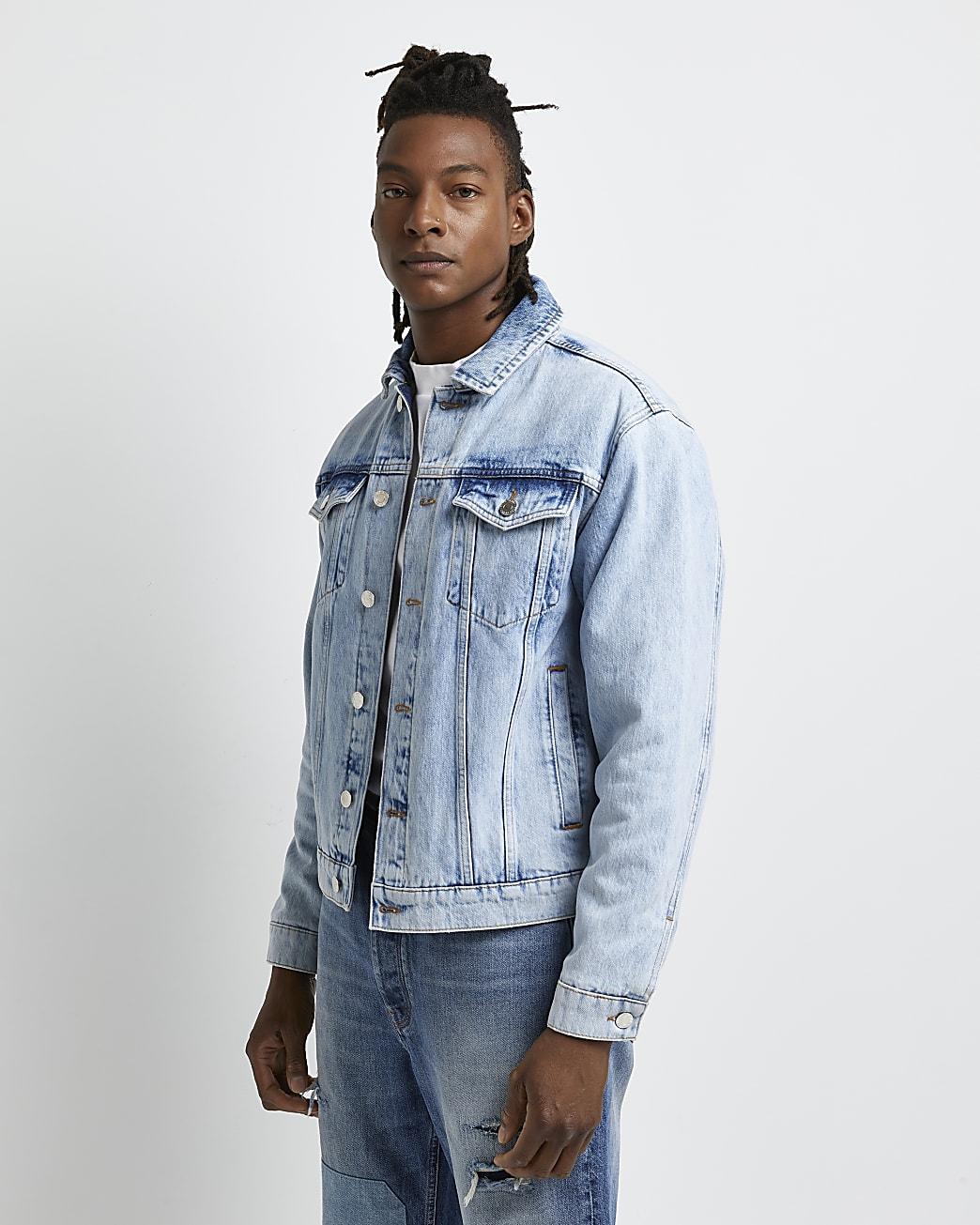 Blue boxy fit blanket lined denim jacket