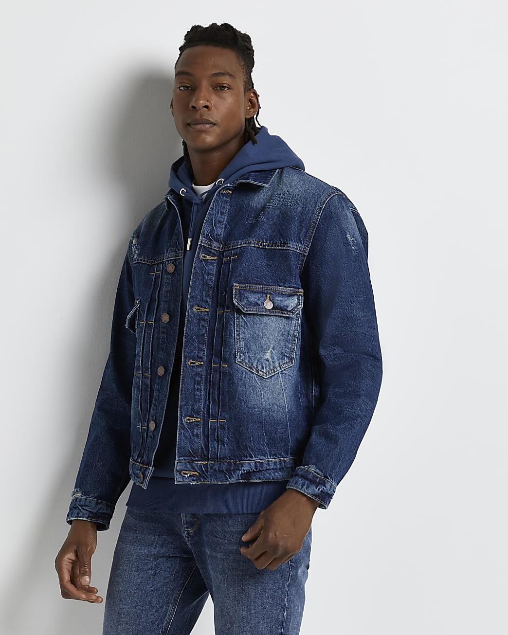 Blue boxy fit denim jacket
