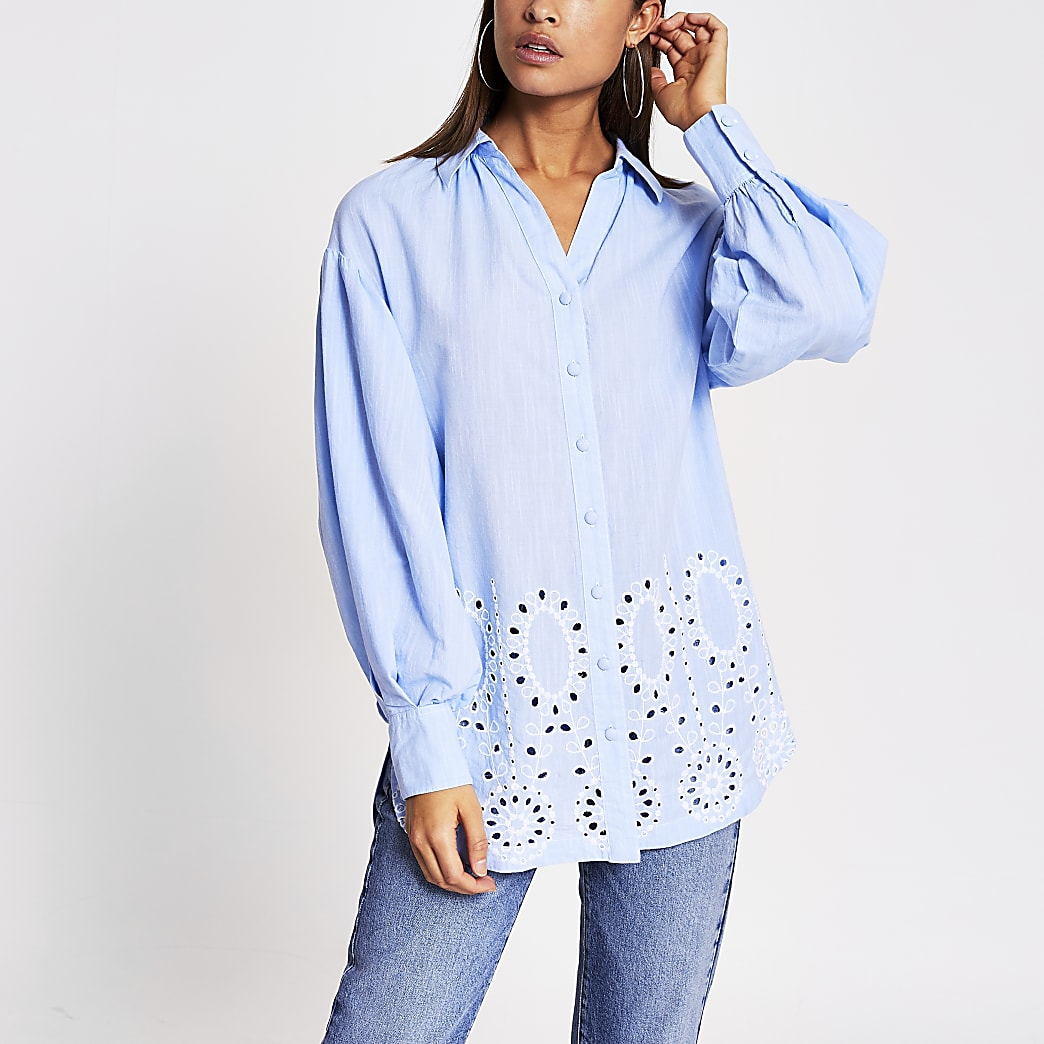 Blue broderie hem long sleeve shirt