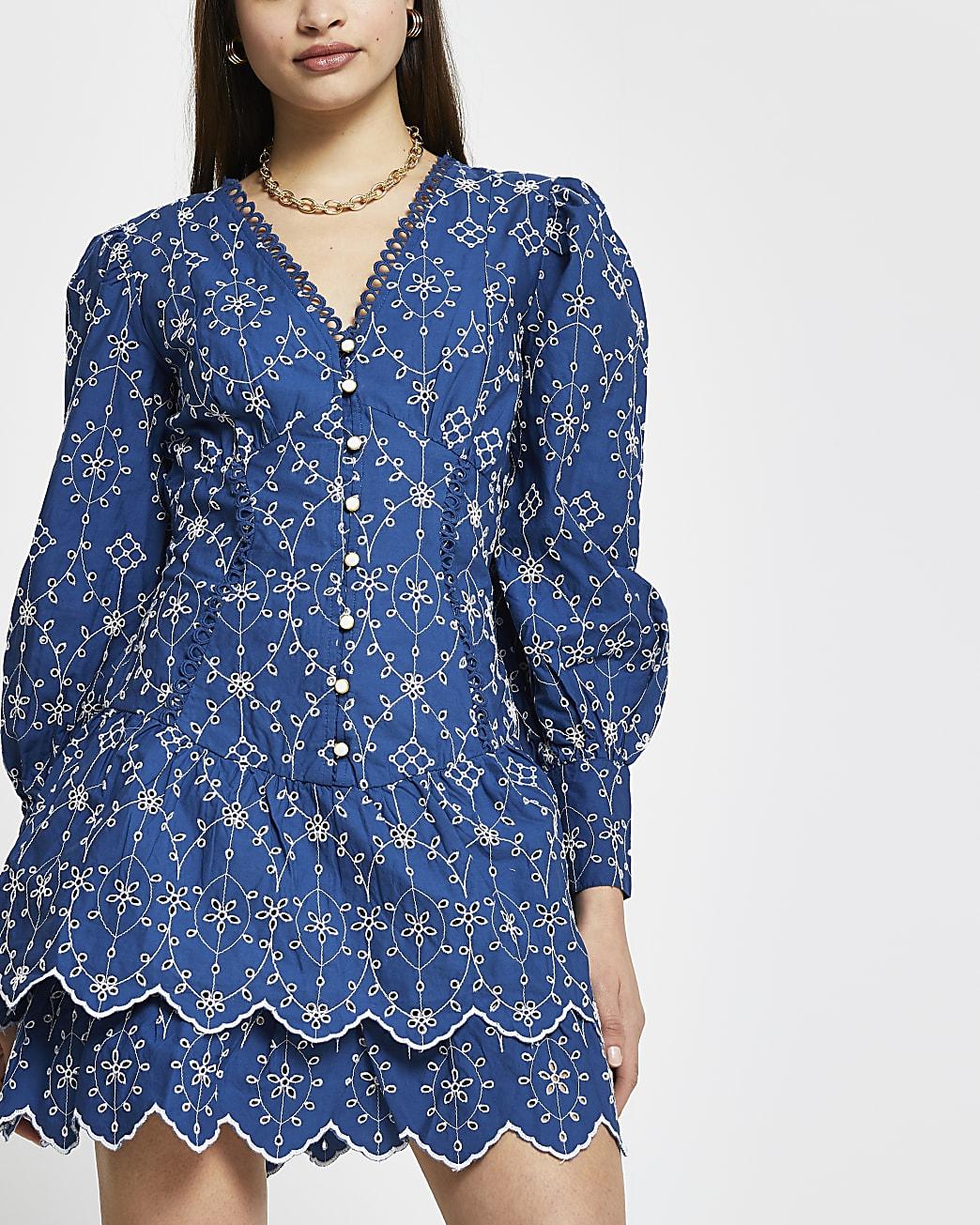 Blue broderie long sleeve mini shirt dress