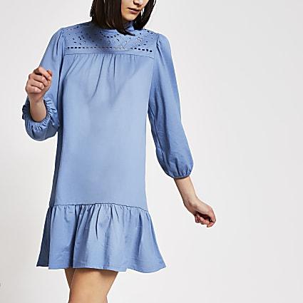 Blue broderie long sleeve smock mini dress