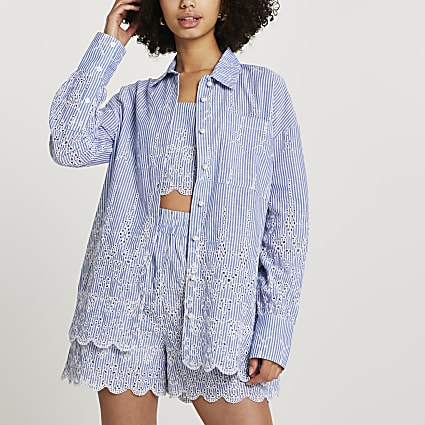 Blue broderie oversized long sleeve shirt