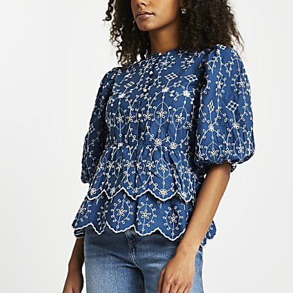 Blue broderie trim detail blouse top