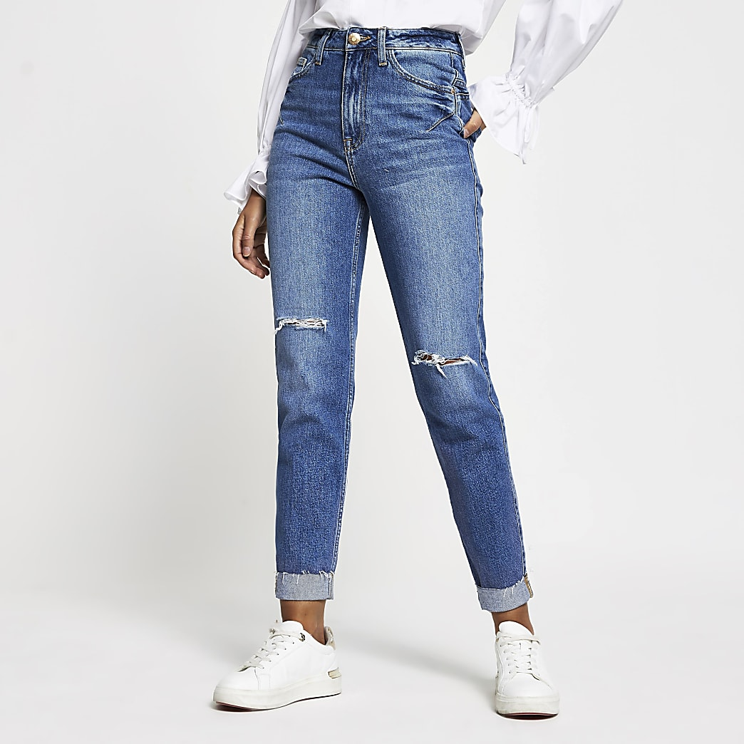 Blue bum sculpt ripped high waisted mom jean