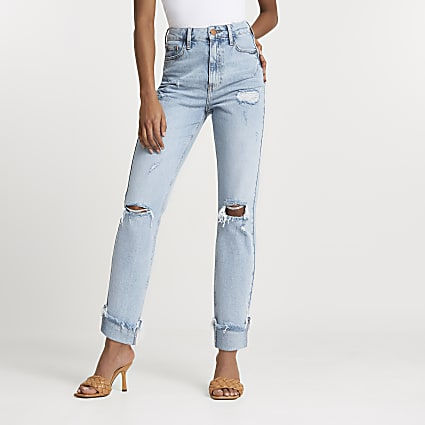 Blue bum sculpt ripped high waisted mom jeans
