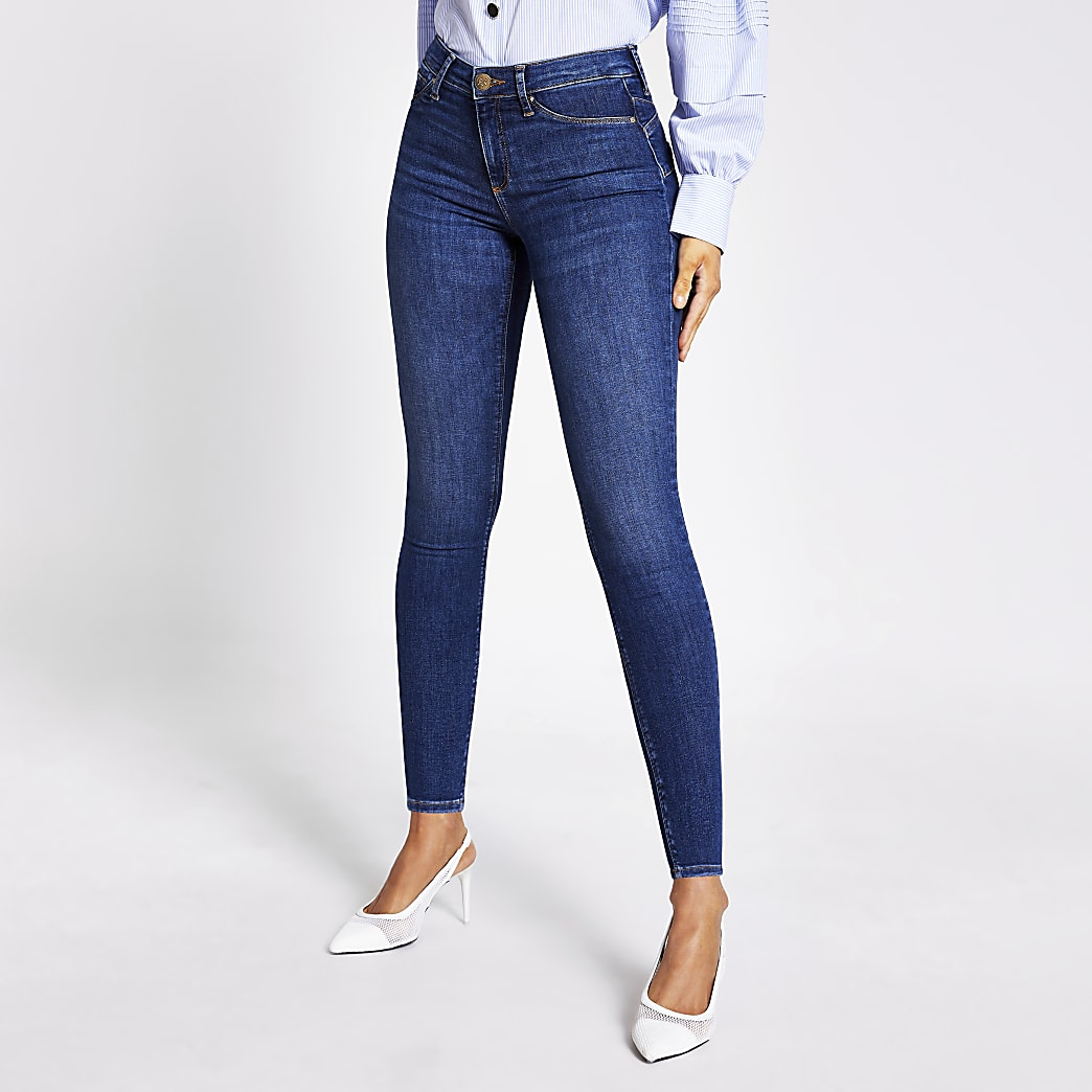 Molly –Po-formende Mid-Rise-Jeggings in Blau