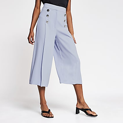 Blue button front culotte trouser
