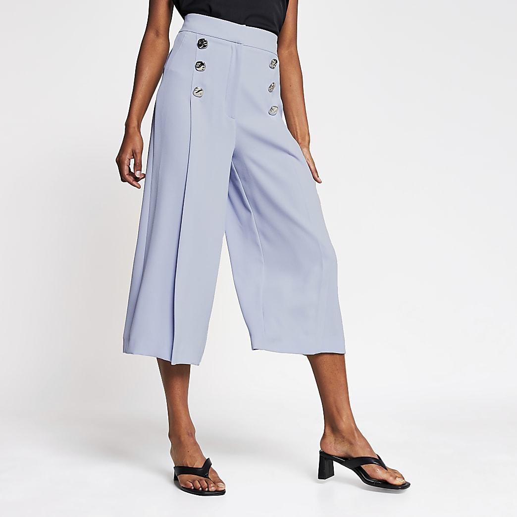 Blue button front culotte trouser