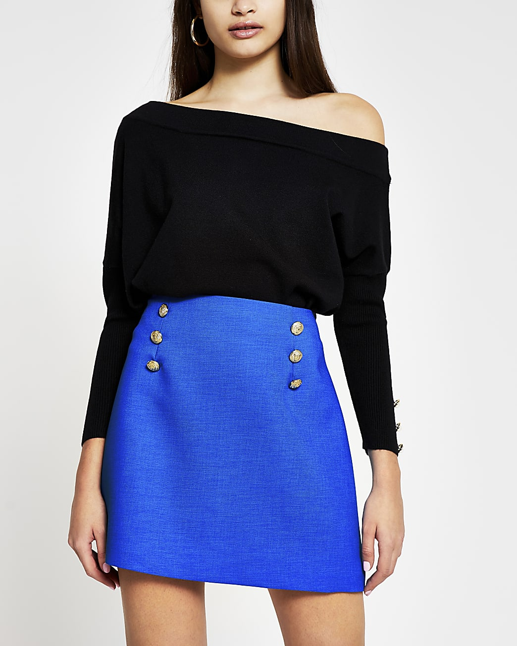 Blue button front short skirt