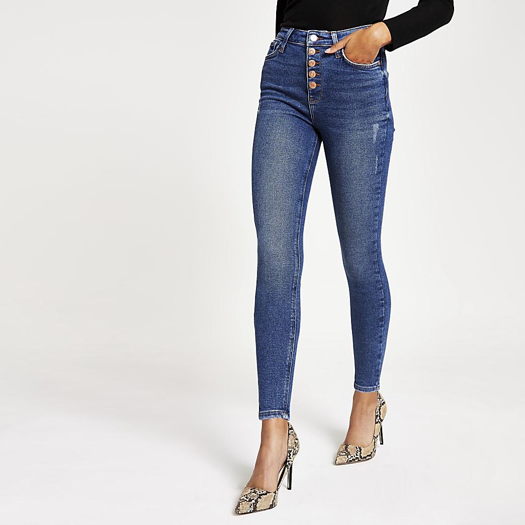 Hailey – Blaue Skinny Jeans mit Knopfleiste und hohem Bund