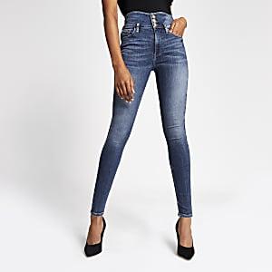 Hailey - Blauwe high rise skinny jeans met knopen