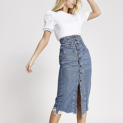 Blue button through corset denim midi skirt