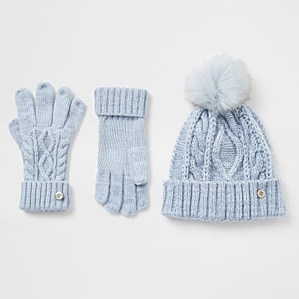 Blue cable knit hat and glove gift set