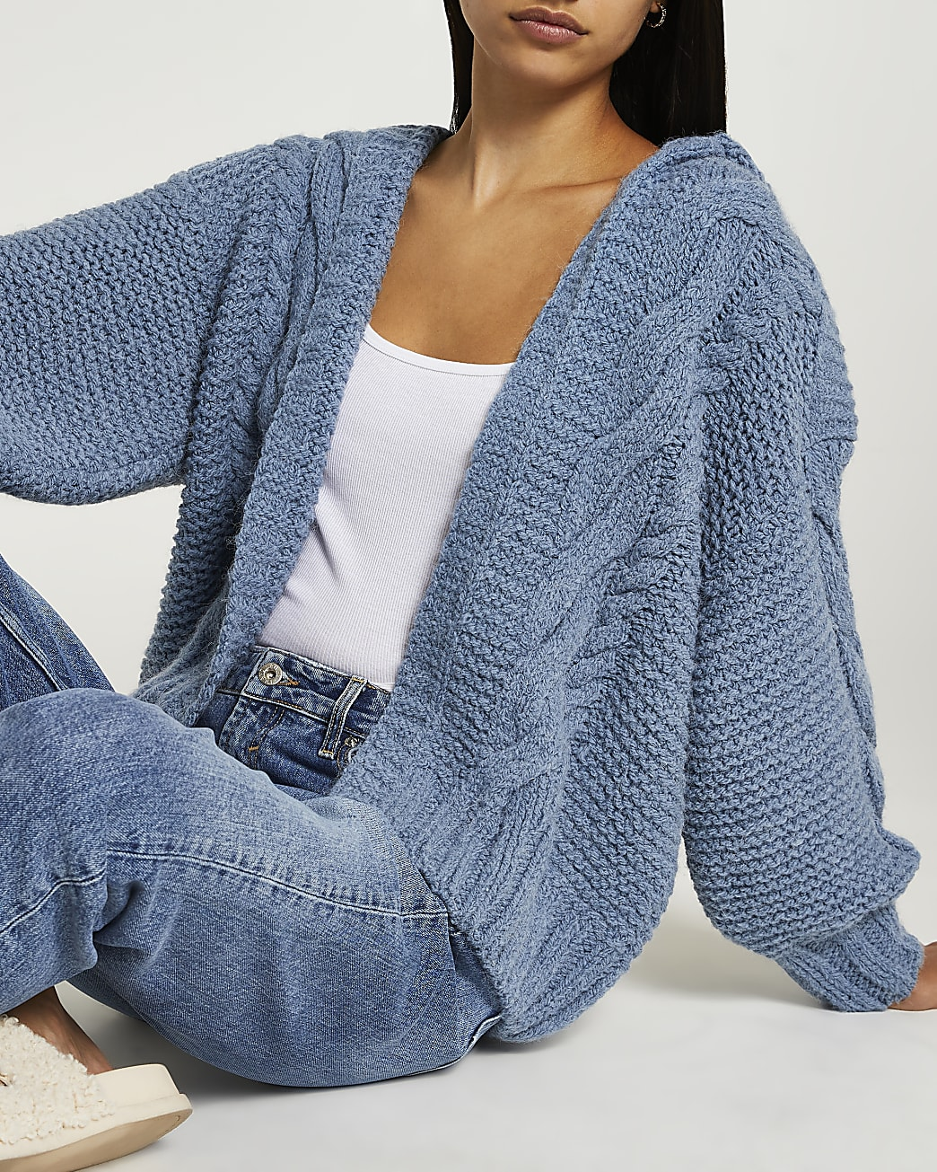 Blue cable knit hooded cardigan