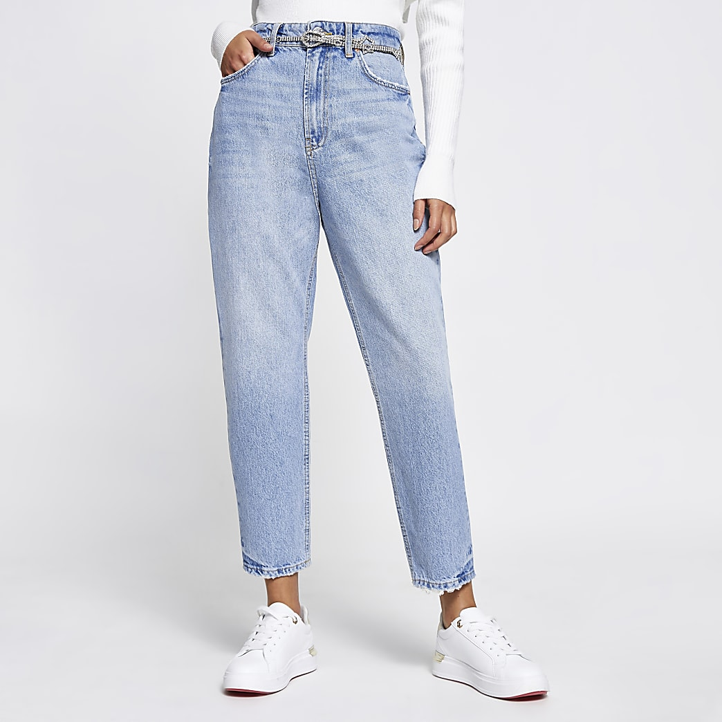 Blue Carrie belted high rise jeans