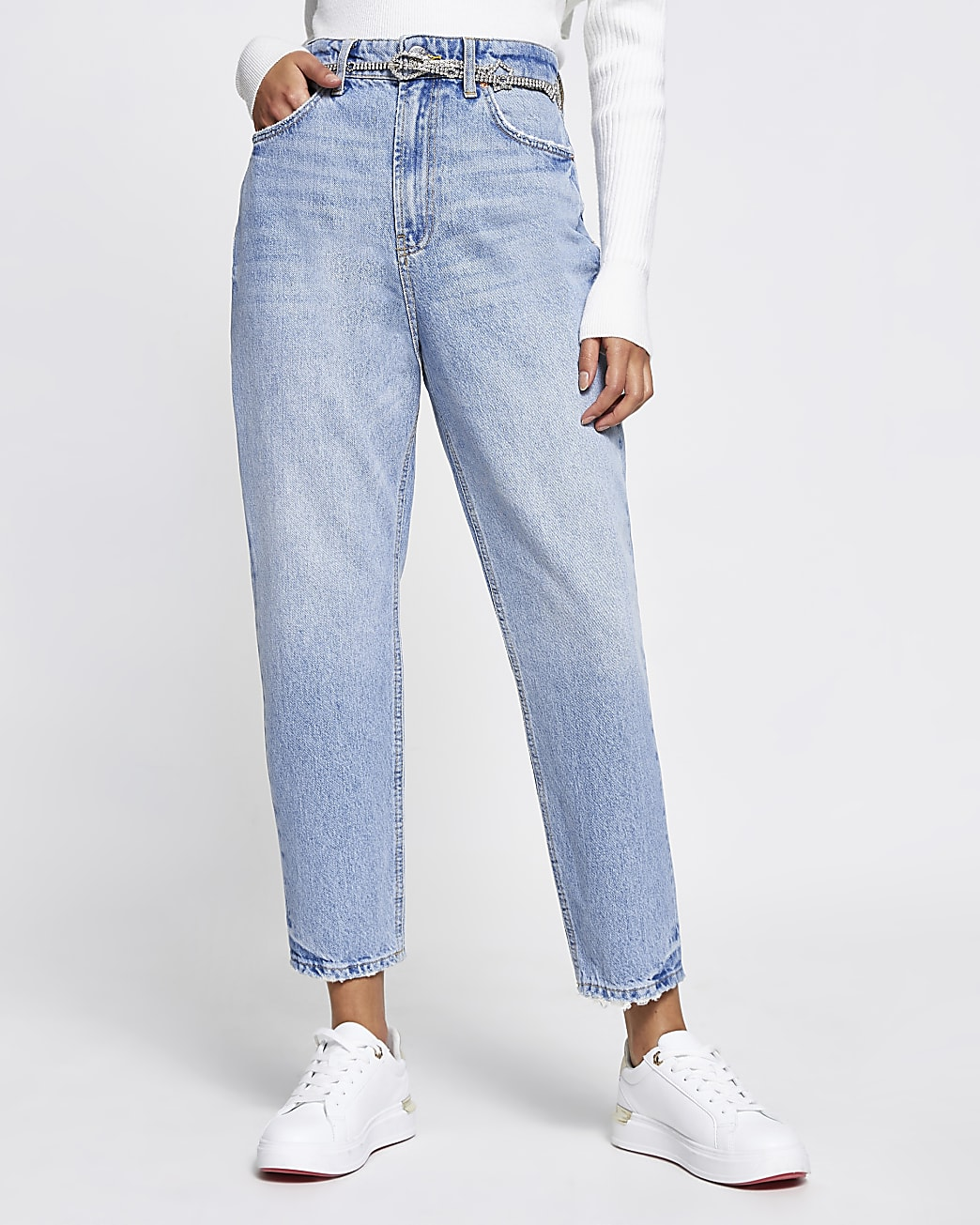 Blue Carrie belted high waisted jeans
