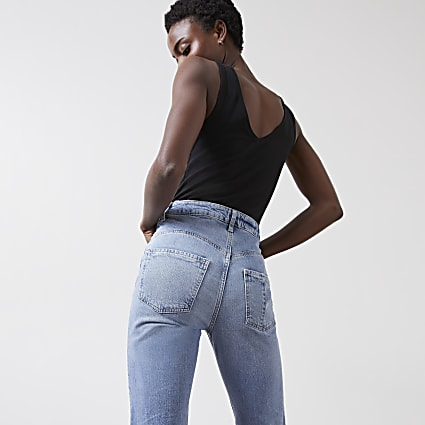 Blue Carrie high rise comfort shape mom jeans