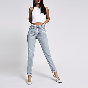 Carrie – Jean stretch confortable taille haute bleu