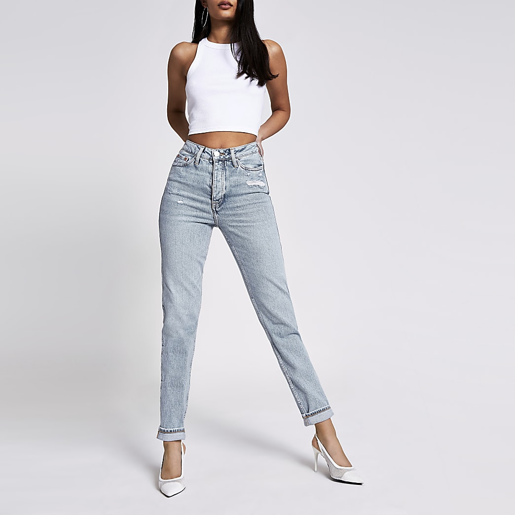 Blauwe comfort stretch Carrie jeans met hoge taille