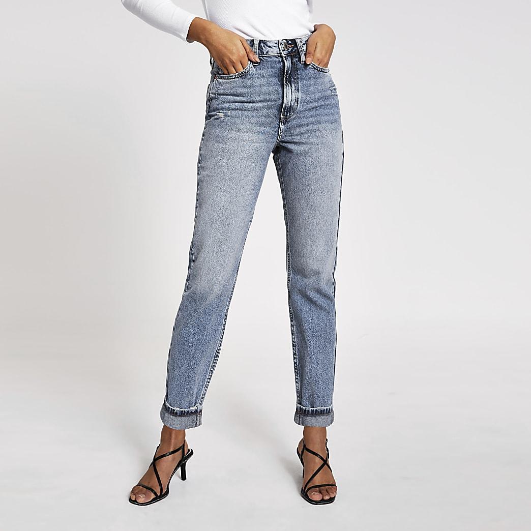 Blaue Carrie Mom-Jeans mit hohem Bund