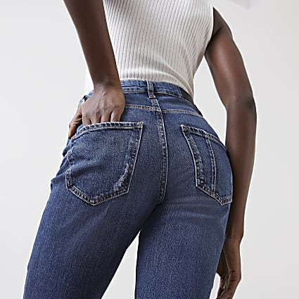 Blue Carrie high rise ripped bum sculpt jeans