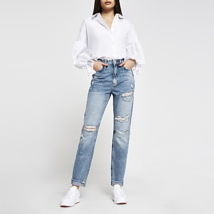 Blue Carrie high rise ripped diamante jeans