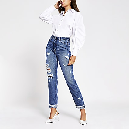 Blue Carrie high rise ripped jean