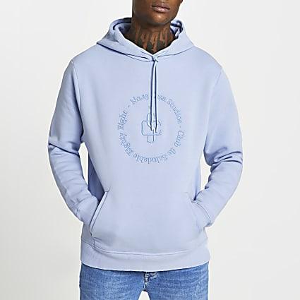 Blue 'Casa Studios' slim fit hoodie