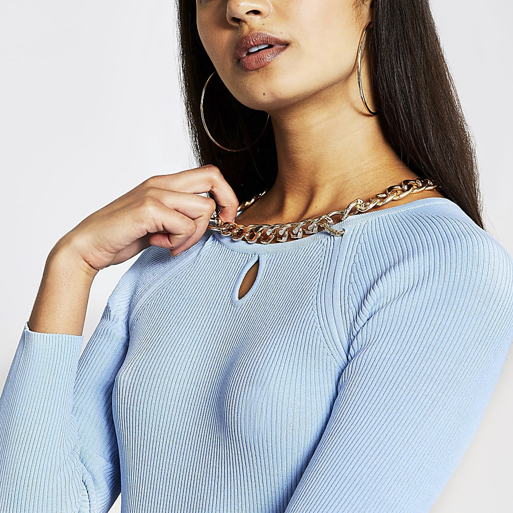Blue chain choker ribbed top