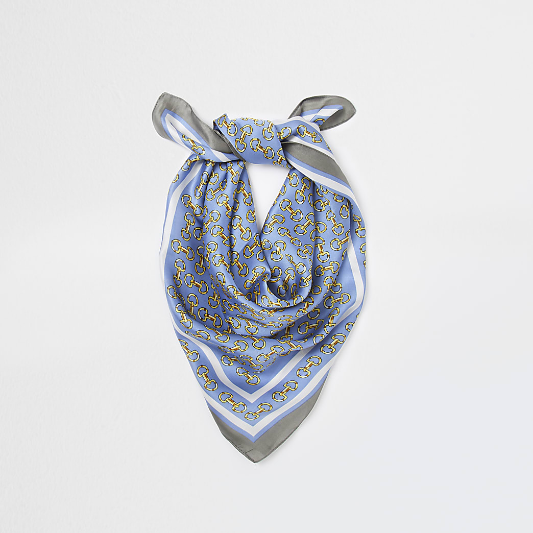 Blue chain print head scarf