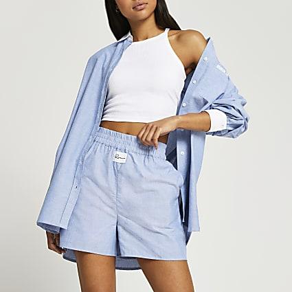 Blue chambray oxford shorts