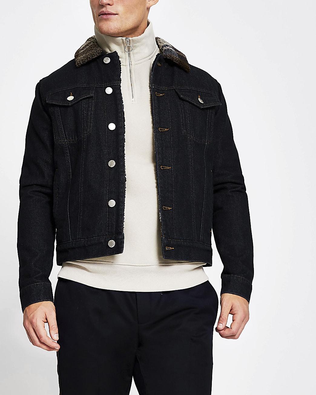 Blue check collar borg denim jacket