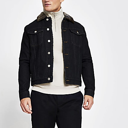 Blue check collar borg denim jacket