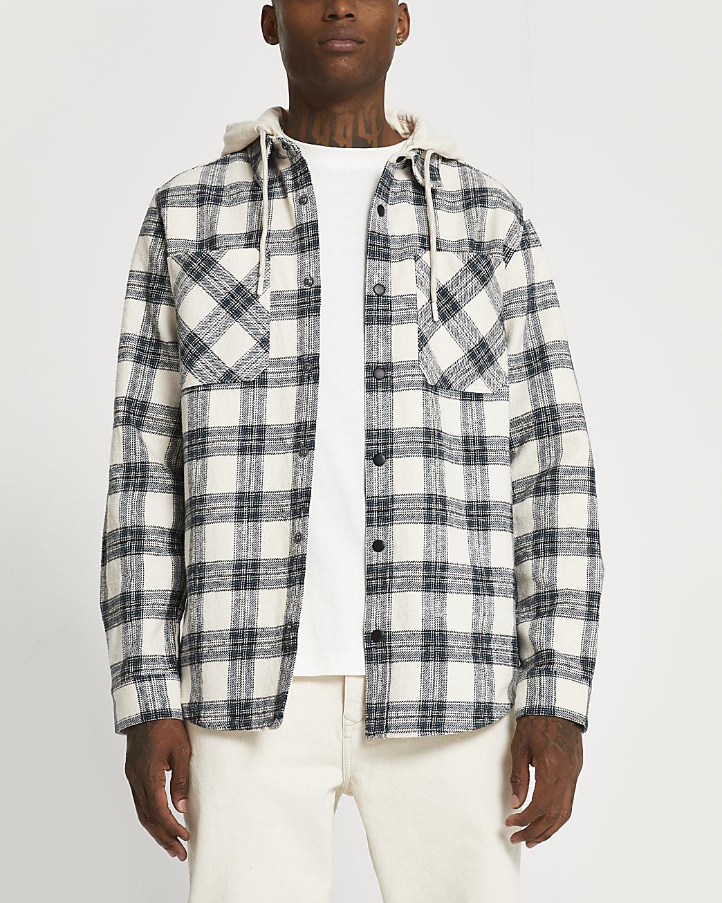 Blue check hooded long sleeve shacket