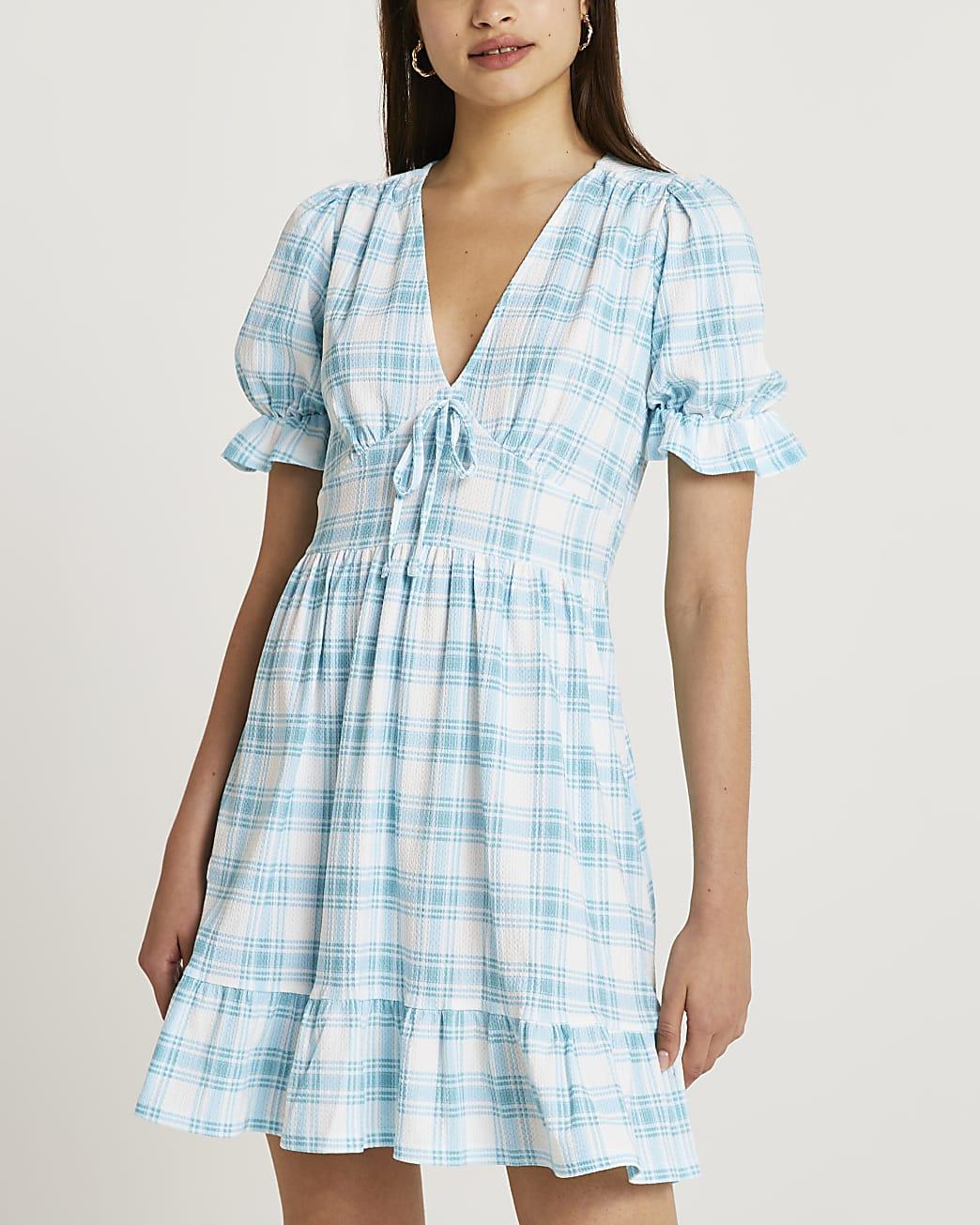Blue check mini dress