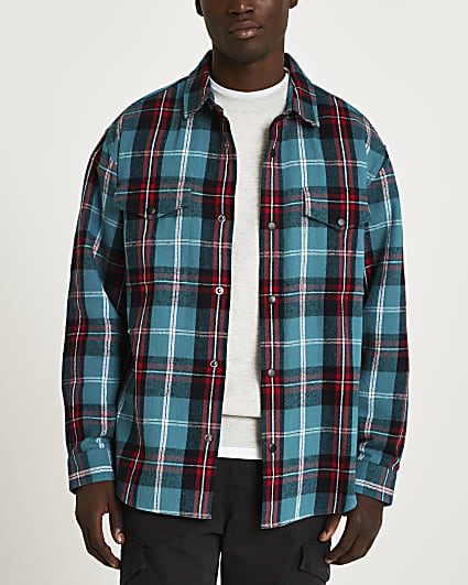Blue check oversized fit long sleeve shirt