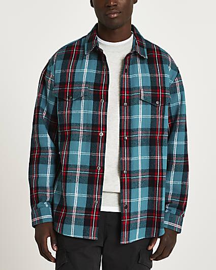 Blue check print long sleeve shirt