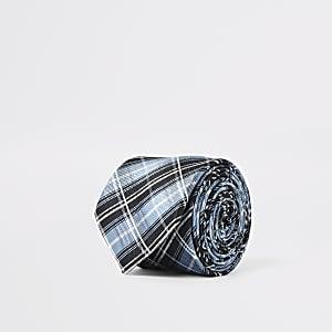 Blauwe stropdas met ruitprint